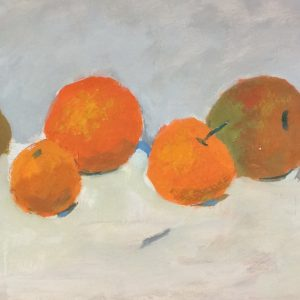 water colour still-life painting of seville oranges in orange green and white or light background