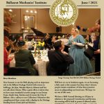 front page of newsletter with people having dinner dressed in period costume