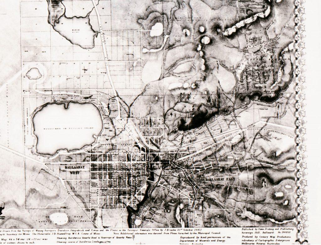 heritage image of a map of Ballarat