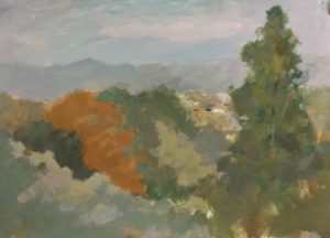 landscape painting of clunes autumn colours orange greys and greens